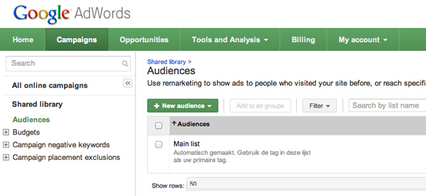 remarketing audience list